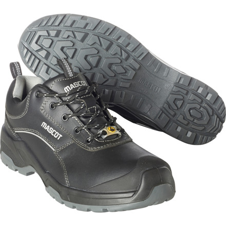 Sikkerhedssko, Mascot Footwear Flex, 42, sort, Fuldnarvet bøffellæder, S3, SRC, ESD, med snørebånd, stigegreb, metalfri, herre