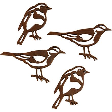 Silhuetfugle størrelse 50 x 25 + 40 x 20  mm tykkelse 1 mm - 100 assorteret stk.