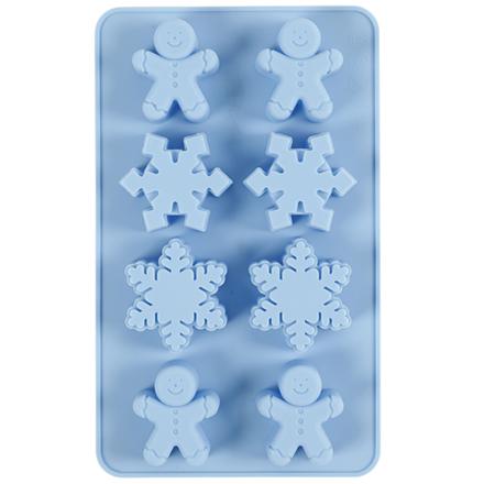 Silikoneform, hulstr. 30x45 mm, 12,5 ml, lyseblå, iskrystaller og småkagemænd, 1pk.