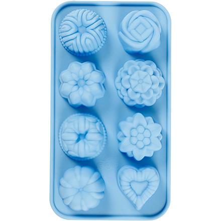Silikoneform, hulstr. 40x45 mm, 25 ml, lys blå, små sandkager, 1stk.