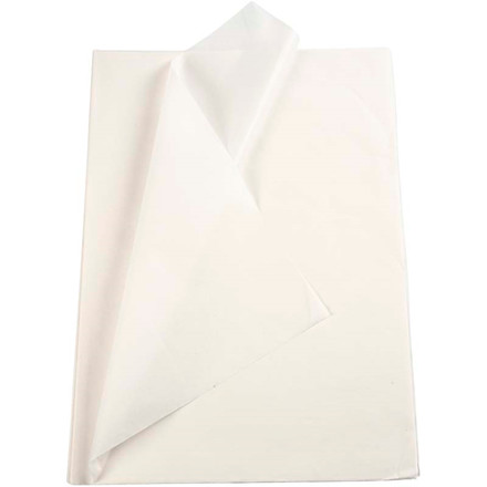Silkepapir hvid 50 x 70 cm - 25 ark
