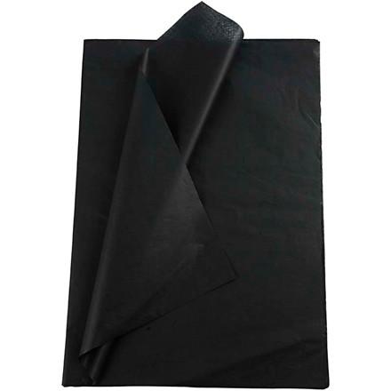 Silkepapir, ark 50x70 cm, 14 g, sort, 25ark