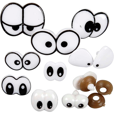 Sjove øjne sortiment størrelse 2-3 cm med låseskiver | 9 stk.