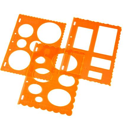 Skæreskabelon - sortiment, ark 21x28 , cirkel, kvadrat og oval, 3ass.