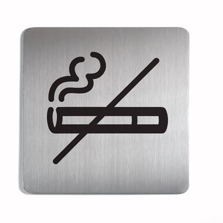Skilt Rygning forbudt - Selvklæbende skilt i rustfrit stål - 150 x 150 mm