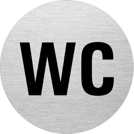 WC Skilt i aluminium - Toiletskilt med sort skrift Ø: 75 mm