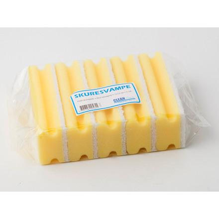 Cleanline Grydesvampe gul/hvid med håndtag 7 x 15 cm - 1 stk