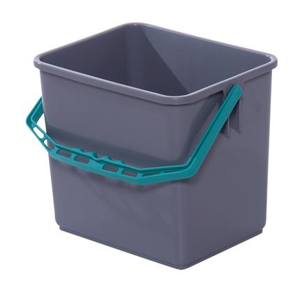 Spand, Tina Trolleys, grå, med grøn hank, 6 l,