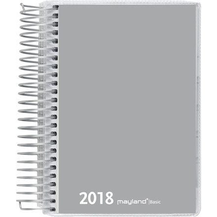 Spiralkalender Basic 2018 grå 1 dag pr. side 12 x 17 cm - Mayland 18 2650 00