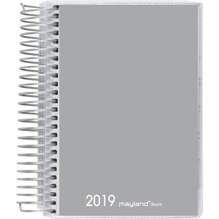 Dagkalender 2019 Basic PP grå Mayland 12 x 17 cm 1 dag/side - 19 2650 00