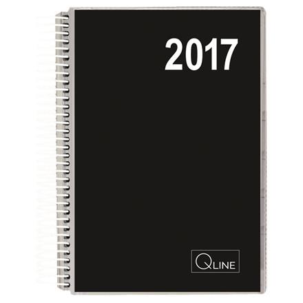 Spiralkalender - sort 12 x 17 cm 1 dag pr. side  Q-line 17 2111 00