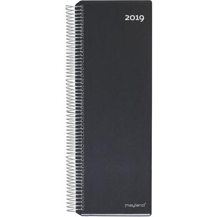 Spiralnoteringskalender 2019 Mayland hård PP sort 10 x 32 cm 1 dag/side - 19 2250 00