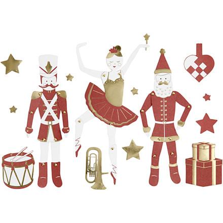 Sprællemænd, H: 10-165 mm, 300 g, hvid, guld, rød, nøddeknækker, ballerina og julemand, 2ark