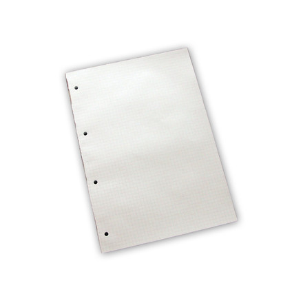 Standardblok - A4 kvadreret med 4 huller - 100 ark