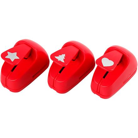 Stansejern størrelse 16 mm rød stjerne hjerte juletræ | 1 sæt
