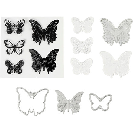 Stempler, skære- og prægeskabeloner, str. 3,5-5,5 cm, sommerfugle, 1pk.