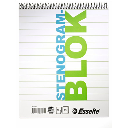 Stenogramblok - Esselte 205 x 165 mm - 75 sider