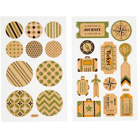 Stickers, ark 10x16 cm, kuffertmærker og cirkler, 4ark