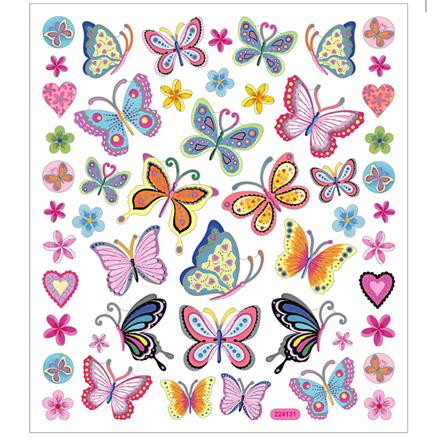 Stickers blomster og sommerfugle i flotte farver | 1 ark á 21 stk.