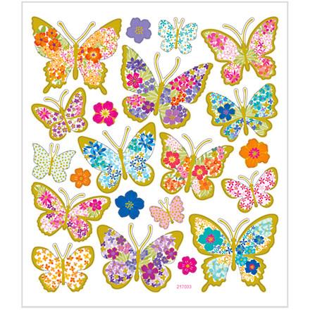 Stickers sommerfugle med blomster papir med detaljer i metalfolie | 1 ark á 21 stk.