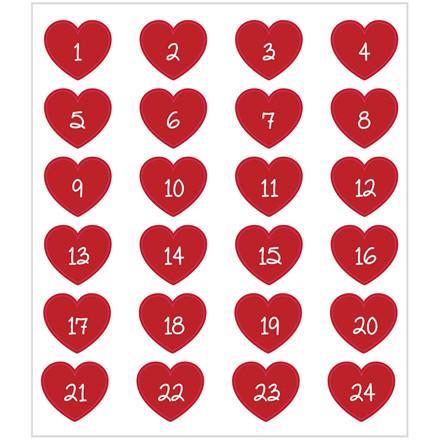 Stickers røde hjerter med kalendertal | 1 ark á 24 stk.