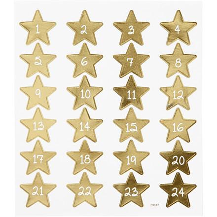 Stickers kalendertal i guld med hvide tal | 1 ark á 24 stk.