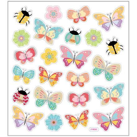 Stickers, ark 15x16,5 cm, 24 stk., sommerfugle og mariehøns, 1ark