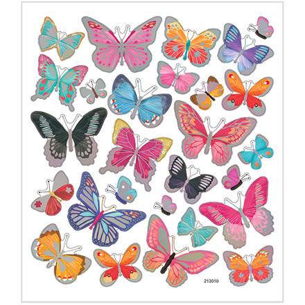 Stickers, ark 15x16,5 cm, 27 stk., sommerfugle, 1ark