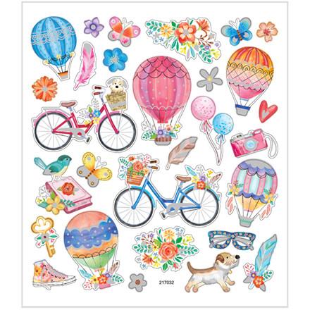 Stickers cykler og luftballoner mat papir detaljer i metalfolie | 1 ark á 29 stk.