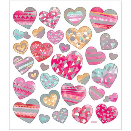 Stickers hjerter i flere størrelser på mat papir og detaljer i metalfolie | 1 ark á 31 stk.