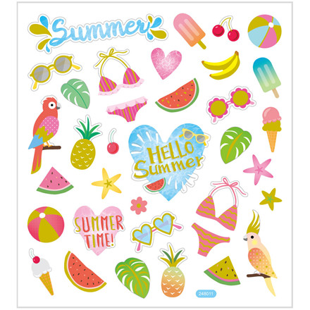Stickers, ark 15x16,5 cm, 35 stk., sommerferie, 1ark