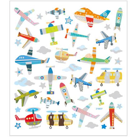 Stickers fly og helikoptere på papir med detaljer i glitter | 1 ark á 42 stk.