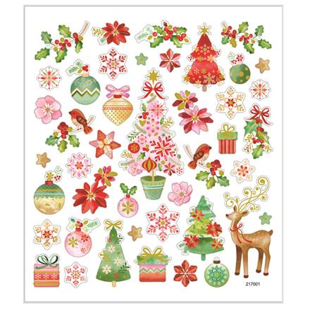 Stickers romantisk jul mat papir detaljer i metalfolie | 1 ark med 43 stk.