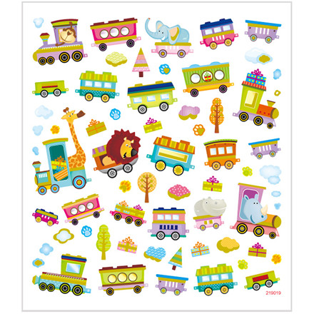 Stickers tog med dyr papir med detaljer i glitter | 1 ark á 64 stk.