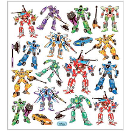 Stickers, ark 15x16,5 cm, ca. 19 stk., transformers, 1ark