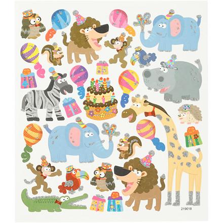 Stickers, ark 15x16,5 cm, ca. 28 stk., dyrenes fødselsdag, 1ark