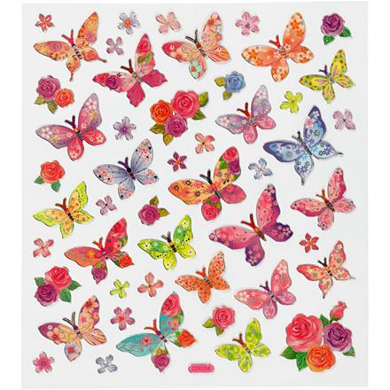 Stickers, ark 15x16,5 cm, ca. 28 stk., sommerfugle, 1ark
