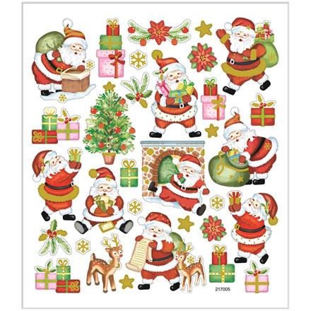 Stickers glad julemand i papir med detaljer i metalfolie | 1 ark á 32 stk.