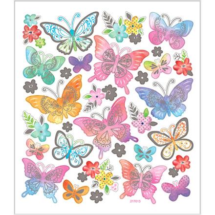 Stickers, ark 15x16,5 cm, ca. 32 stk., sommerfugle, 1ark