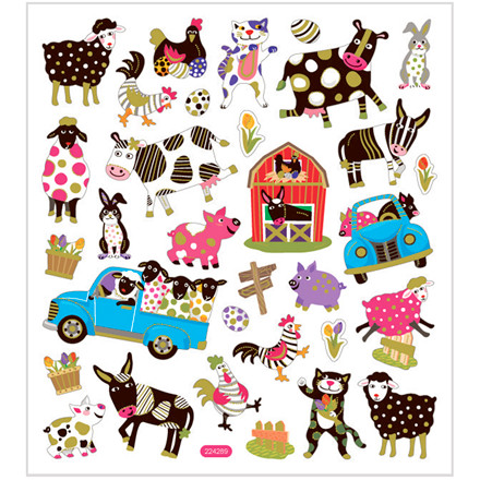 Stickers, ark 15x16,5 cm, ca. 34 stk., fantasifulde dyr, 1ark