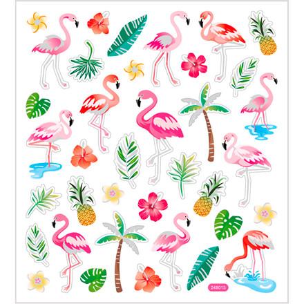 Stickers, ark 15x16,5 cm, ca. 37 stk., flamingo, 1ark