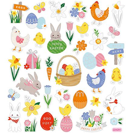 Stickers, ark 15x16,5 cm, ca. 37 stk., påskemix, 1ark