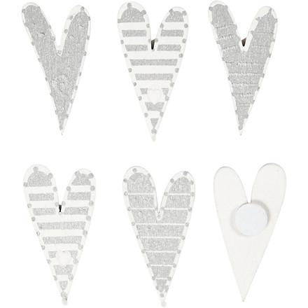 Stickers, str.  25x45 mm, aflange hjerter, 8ass.