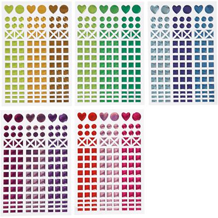 Stickers til mosaik, dia. 8-14 mm, ark 11x16,5 cm, ass. farver, 10ark