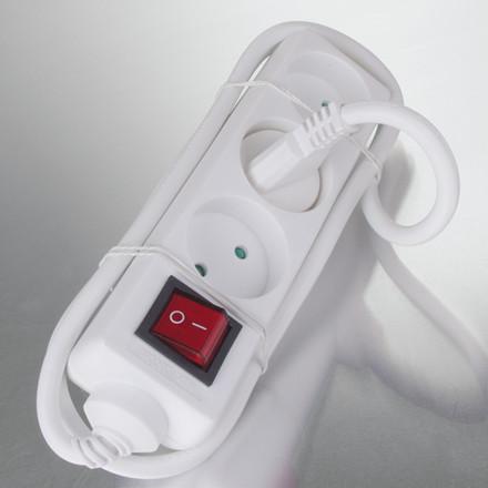 Stik 3-vejs med kontakt (D) 1m kabel hvid