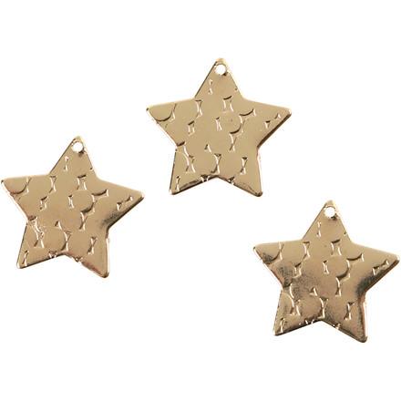 Stjerne, dia. 15 mm, hulstr. 1 mm, forgyldt, FG, 4stk.