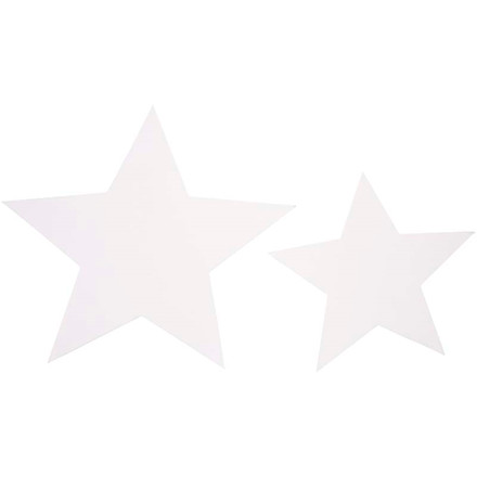 Stjerner størrelse 7,3+10 cm 240 gram hvid karton assorteret | 40 stk.