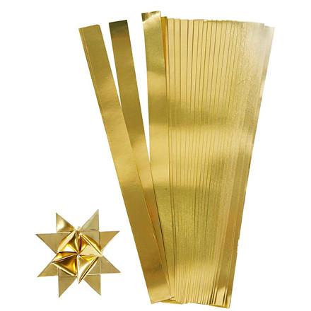 Stjernestrimler guld Bredde 10 mm diameter 4,5 cm Længde 45 cm - 100 stk