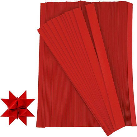 Stjernestrimler, B: 10 mm, rød, 500 stk., L: 45 cm