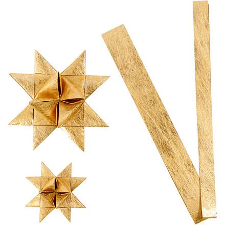Stjernestrimler Vivi Gade guld silke B: 15 + 25 cm Ø: 6,5 + 11,5 cm L: 44 + 78 cm | 32 strimler